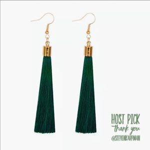 Deep Green Tassel Earrings
